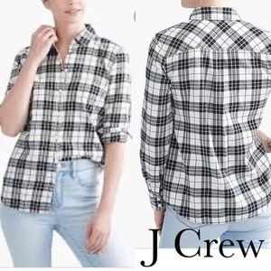 J Crew Black & White Plaid Flannel Long Sleeve Top